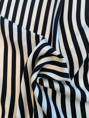 Vertical Striped Printed 4 Ply Silk Crepe Panel - Black / Off-White