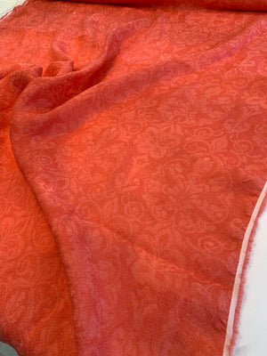 Italian Regal Washed Woven Jacquard Silk Gazar - Coral