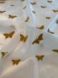 Butterfly Embroidered Polyester Shimmer Organza - Ivory / Antique Gold