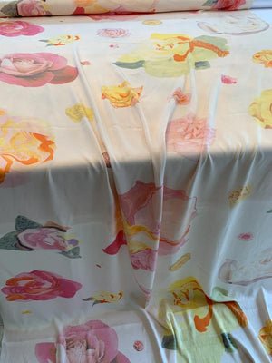Large-Scale Floral Printed Heavy Stretch Washed Silk Twill - Soft Pink / Yellow / Pink / Orange