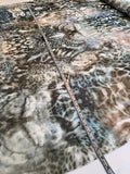 Made in Germany Animal Pattern Printed Silk Chiffon - Shades of Grey Teal and Earth