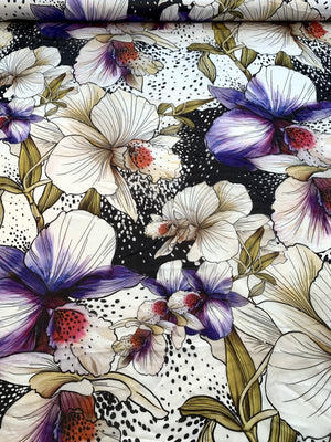 Italian Unique Floral Printed Silk Chiffon - Multicolor