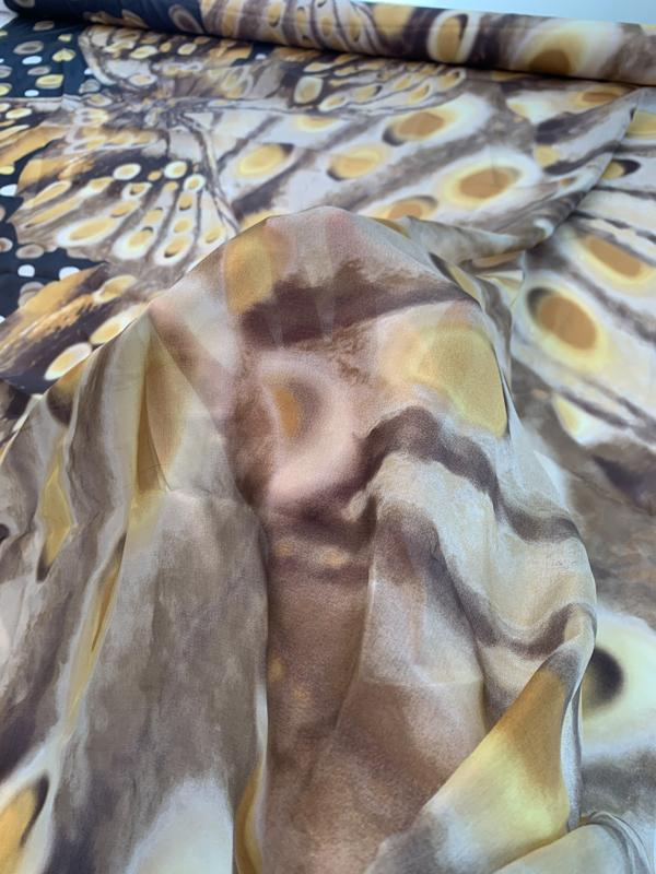 Italian Oversize Butterfly Border Printed Silk Chiffon-Habotai - Yellow / Brown / Tan / Black