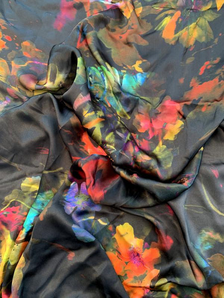 Made in Germany Floral Dream Printed Satin Silk Chiffon - Multicolor