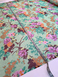 Italian Floral Printed Crinkled Silk Chiffon - Green / Pink / Orange / Wine