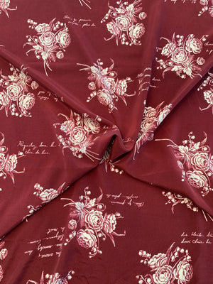 Floral Bouquets and Love Notes in French Printed Silk Crepe de Chine - Maroon / Off-White