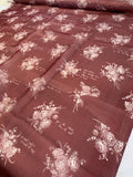 Floral Bouquets and Love Notes in French Printed Silk Organza - Maroon / Off-White