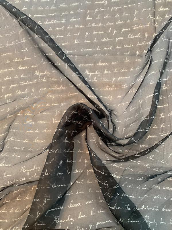 Love Letters in French Printed Silk Organza - Black / Off-White