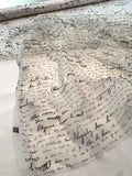 Love Letters in French Printed Silk Organza - Ivory / Black