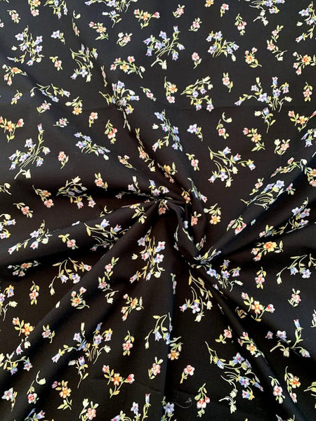 Dainty Floral Printed Stretch Cotton Poplin - Black / Periwinkle / Pink / Green