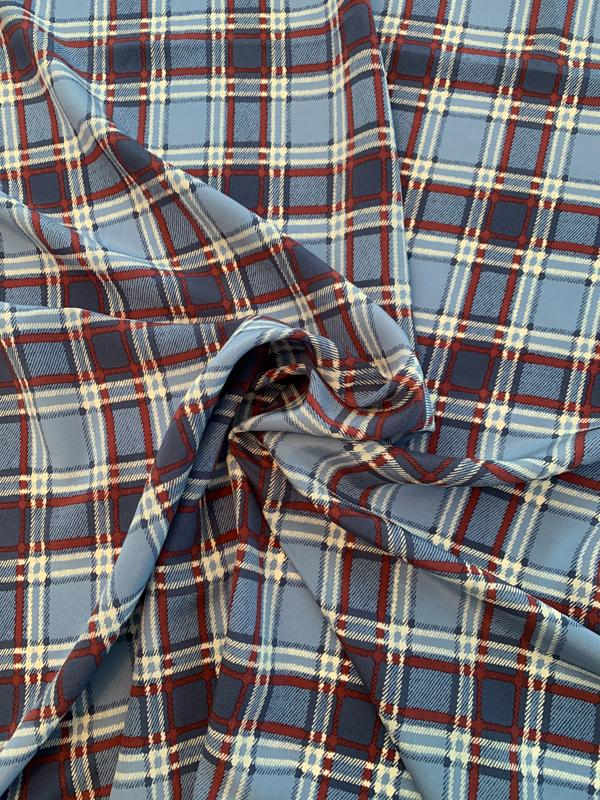 Plaid Printed Silk Crepe de Chine - Cadet Blue / Burgundy