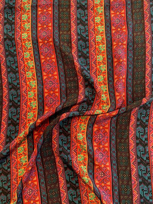 Ethnic Southwestern Striped Printed Silk Crepe de Chine - Multicolor