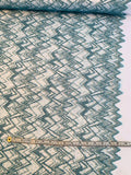 Chevron-Like Novelty Tulle with Sequins and Soutache Cording - Light Teal