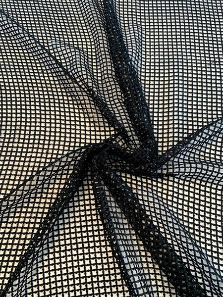 Windowpane Lace-Look Crochet with Sequins - Black