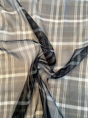 Italian Plaid Yarn-Dyed Fine Silk Organza - Black / Dove Grey / Olive