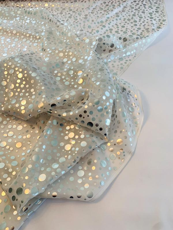 Foil Printed Circles on Silk Chiffon - Silver / Off-White