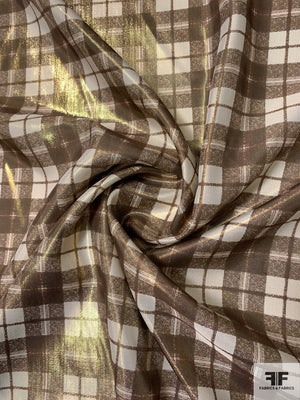 Plaid Printed Lightweight Lame - Gold / Tan / Bronze