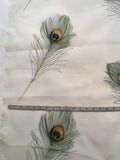 Embroidered Peacock Feathers on SUPER WIDE Silk Organza - Green / Blue / Off-White