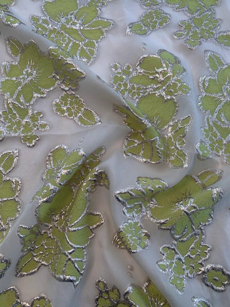 Floral Burnout Poly Lurex Cloque - Lime Green / Silvery Gold / Cream