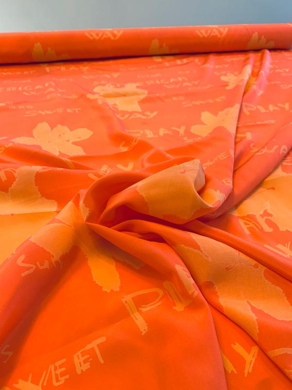 Printed Words and Floral Silk Crepe de Chine - Coral / Peach