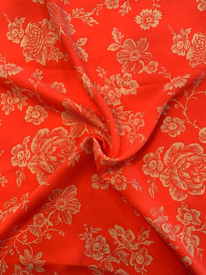 Isaac Mizrahi Floral Printed Silk Crepe - Hot Coral / Off-White