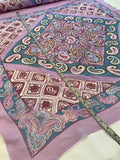 Paisley Bandana Printed Panel Silk Chiffon - Purple / Teal / Cream