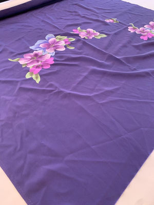 Drifting Flowers Printed Panel Silk Crepe de Chine - Purple / Pink / Green