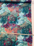 Abstract Collage Printed Silk Charmeuse - Teal / Magenta / Purple / Multi