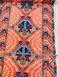 Modern Ethnic Printed Polyester Crepe de Chine - Coral / Multicolor