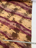 Diagonal Wavy Striations with Gold Foil Dots Printed Silk Charmeuse - Tan / Brown / Mulberry / Mauve