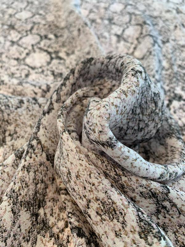 Hazy Reptile Pattern Printed Silk Georgette - Lt Mauve / Lt Brown / White / Black /
