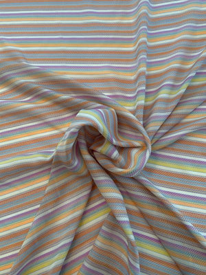 Italian Horizontal Striped Yarn-Dyed Semi-Sheer Silk Twill - Multicolor
