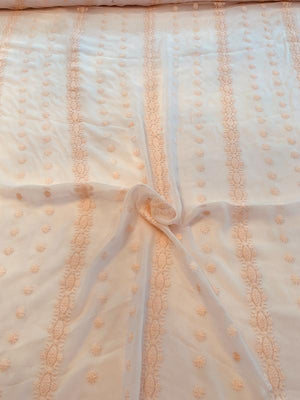 Floral Embroidery on Crinkled Silk Chiffon - Light Blush