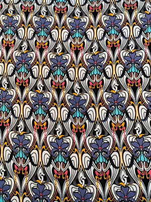 Famous NYC Designer Abstract Printed Rayon Crepe-Twill - Multicolor
