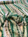 Tropical Tie-Dye Striped Printed Rayon Twill - Green / Yellow / Lime