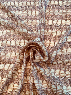Ovals in Line Panel Printed Silk Habotai - Brown / Tan