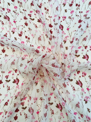 Sweet Floral Printed Crinkled Silk Chiffon - Rose / Pink / Off-White
