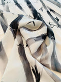 Painterly Bamboo Printed Silk Georgette - Shades of Grey / Black / Off-White