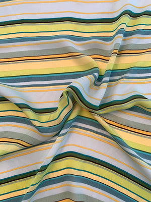 Horizontal Striped Printed Silk Georgette - Lime / Yellow / Teal / Seafoam