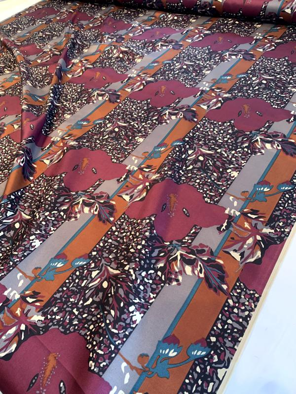 Italian Abstract Leaf Printed Fine Silk Twill - Wine Red / Teal / Grey / Black