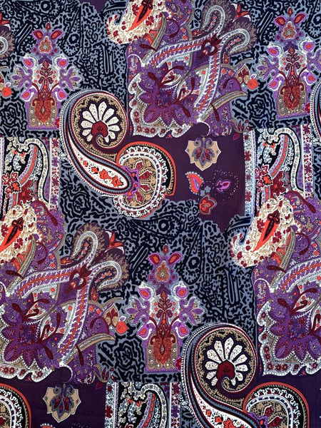 Paisley Patchwork Printed Silk Chiffon - Purple / Wine Red / Grey / Black
