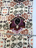 Leaf Mosaic-Like Printed Silk Georgette - Purple / Brick Red / Dark Olive / Coral