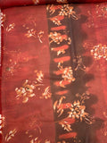 Tie-Dye Like and Floral Printed Polyester Chiffon - Red / Burgundy / Burnt Orange