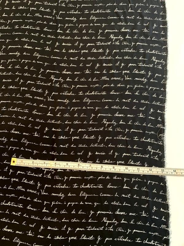 Love Letters in French Matte-Side Printed Silk Charmeuse - Black / Off-White