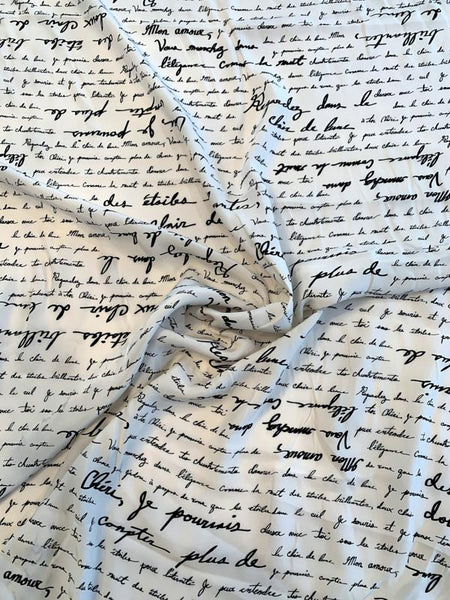 Love Letters in French Matte-Side Printed Silk Charmeuse - Off-White / Black