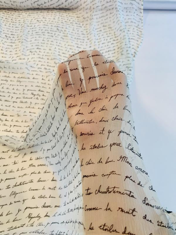 Love Letters in French  Printed Crinkled Silk Chiffon - Off-White / Black