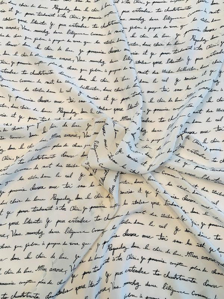 Love Letters in French Printed Silk Crepe de Chine - Off-White / Black