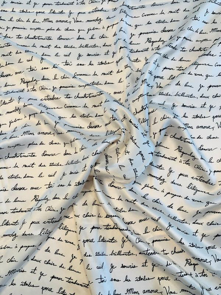Love Letters in French Printed Silk Charmeuse - Off-White / Black