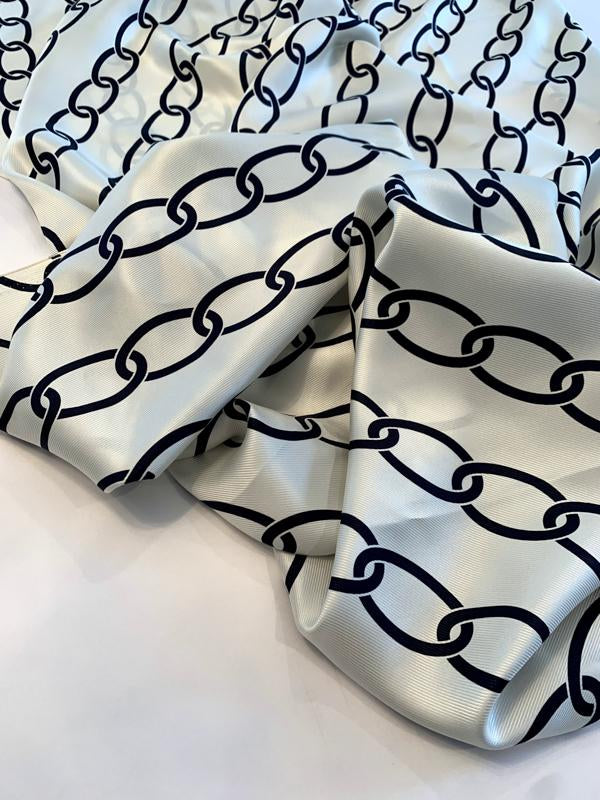 Diagonal Chain Links Printed Silk Twill - Ivory / Navy