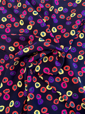 Italian Playful Painterly Circles Printed Silk Crepe de Chine - Navy / Yellow / Purple / Red